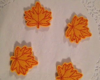 Colorful felt embroidered leaves-set of 4