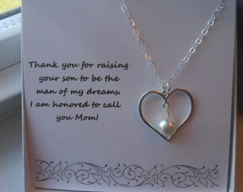 Mother of the Groom Gift, Sterling Silver Heart Necklace, Heart and Pearl Necklace, Mother in law Gift