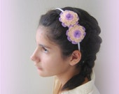 Pink hairband. Pastel colors headband. Flowers hairband. Flowers headband. Hair accessory. Felted hairband.