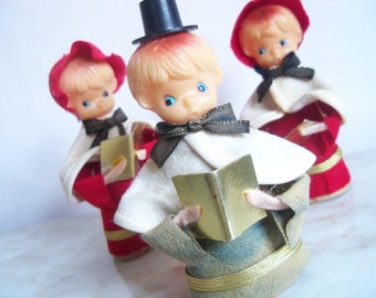 Christmas Carolers set of 3 Made in Japan Boy and Girls