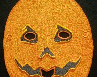 Embroidered Pumpkin Full Face Mask, Halloween, Mardi Gras, Costume Mask