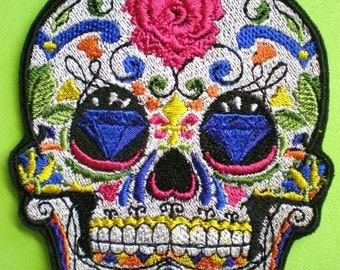 Embroidered Sugar Skull Iron On Applique Patch, Day of the Dead, Dia de los Muertos, Biker Patch, Gothic, Mexico, Mexican, Skull Patch