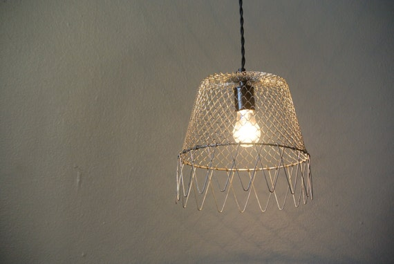 Items similar to wire egg basket hanging pendant light on etsy - Wire basket chandelier ...