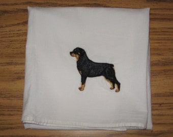 Machine Embroidered Rotweiler Flour Sack Dish Towel