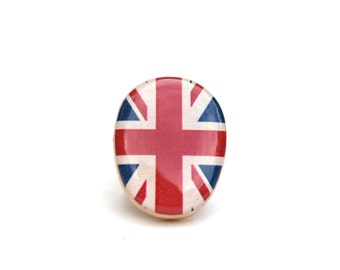 British flag statement ring . Union Jack statement ring .  Wood jewelry  . Wood Statement Ring . Eco friendly . Starlight woods