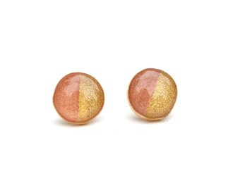 Two tone rose and gold studs , mom Color block jewelry Rose and gold post earrings.   Wood jewelry.  Starlight woods. Eco friendly jewelry.