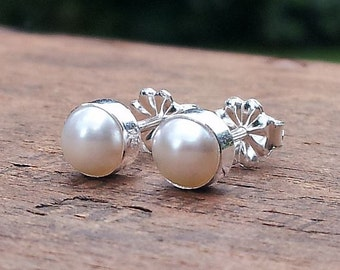 5mm White Freshwater Pearl Stud Post Earrings Fine Sterling Silver Shiny - Little Bits of Color
