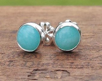 6mm Aqua Amazonite Gemstone Stud Post Earrings Fine Sterling Silver Shiny - Little Bits of Color