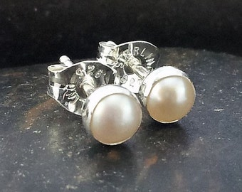 4mm Freshwater Pearl Stud Post Earrings Fine Sterling Silver Shiny - Little Bits of Color