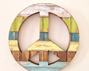 Small Rustic Wood Peace Sign Wall Decor