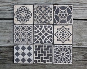 moroccan tile design custom Stone coasters set of 6 stain glass hostess gift housewarming gift wedding favor shower favor rustic favor