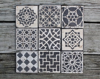 moroccan tile design custom Stone coasters set of 6 stain glass hostess gift housewarming gift wedding favor shower favor rustic favor