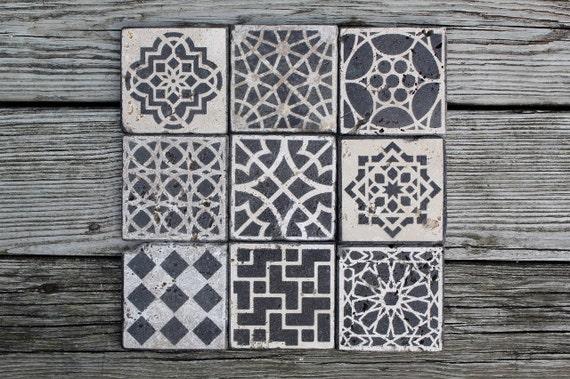 Piastrelle marocchine design pietra sottobicchieri set - Piastrelle marocchine vendita ...