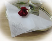 Embroidered Flower and Vase Sheer  Wedding Bridal Vintage Hankie