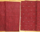 Designer Fabric Upholstery Samples 2 Pieces Crimson Red Pattern and Crimson Red Plain