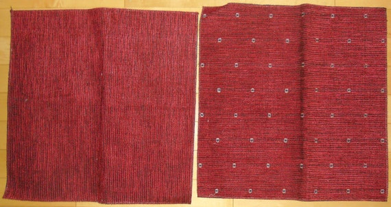 Designer Fabric Upholstery Samples 2 Pieces Crimson Red
