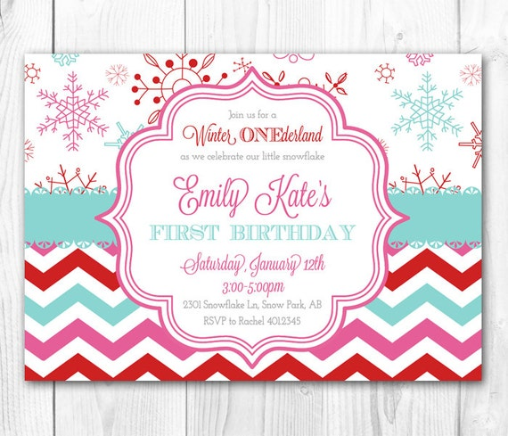 modern winter wonderland party invitation. winter onederland, Birthday invitations