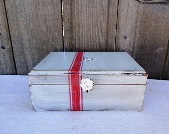 Wooden Box with Red Grain Sack  stripes and knob