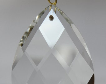 5 Clear TOP QUALITY Glass Chandelier Teardrop Diamond Cut Crystal Prisms Hanging Drops Brass Pins