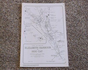"Vintage 1979 ""Elizabeth Harbour to Hog Cay"" Nautical Chart Map"