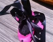 Pink with black polka dots mary jane ballet slipper,One Pair Only, Size Small,  FREE SHIPPING US