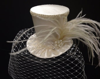 Off White Ivory Crepe Satin Mini Top Hat with Birdcage Veil for Wedding, Bachelorette Party, Bridal Shower, Tea Party or Photo Prop