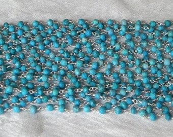 Blue Turquoise Rosary Chain Beads 9 to 18 Inch Sterling Silver Wire 4mm Semiprecious Faceted Gemstone Beads Take 10% Off Jewelry Supply