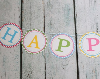 """LITTLE OWL Theme Birthday or Baby Shower """"Happy Birthday"""" Banner - Party Packs Available"""