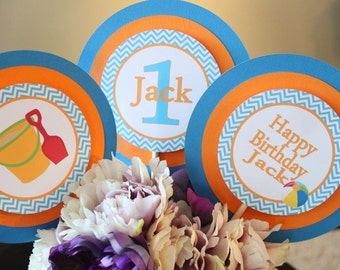 CHEVRON BEACH Happy Birthday or Baby Shower Party 3 Piece Centerpiece - Party Packs Available