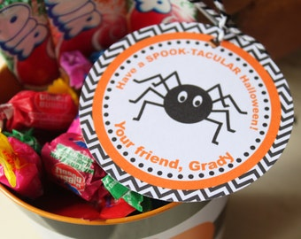 TRICK OR TREAT Halloween Treat Gift Tags or Stickers Bats and Spiders set of 12 {One Dozen} - Party Packs Available