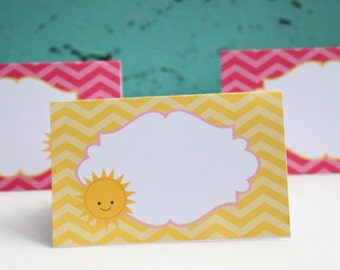 You Are My SUNSHINE Theme Birthday Bridal or Baby Shower Buffet Labels Set of 8