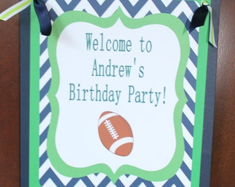 TOUCHDOWN Football Themed Happy Birthday or Baby Shower Door or Welcome Sign Green Navy - Party Packs Available