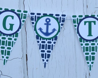 Tying the Knot Nautical Anchor Themed Bridal Shower Banner Green Navy - Party Packs Available