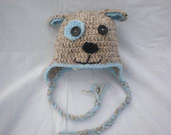 Crochet puppy dog hat crochet toddler hat toddler hats for boys boys hat, baby winter hat, toddler winter hat, boys winter hat, animal hat