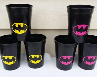 6 bat black cups / tumblers, party favors