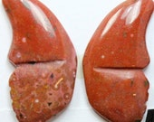 Red Jasper Butterflies - Pair of 2 Cabochons for Setting as Earrings, Jewelry Making, Wire Wrapping, Craft Supply, Collectibles