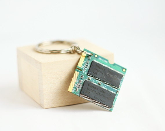 Memory board keychain - recycled computer - gift for Fathers Day