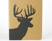 Deer with Antlers, travel journal with inner pocket. Stag, Heart, Buck, reindeer, small notebook. linocut journal