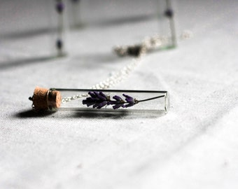 botanical vial necklace preserved specimen corked top romantic lavender herb garden unique gift