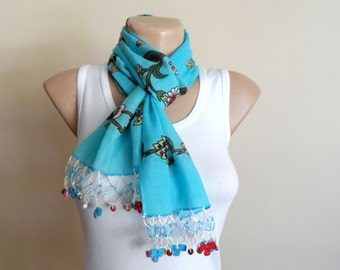 Women Scarf in Turquoise Blue, Cotton Scarf, Yemeni Scarf with Crochet Embroidery Beaded Lace