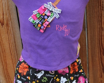 Halloween Skirt and Shirt  - If the Broom Fits Ride It! - Size 3T