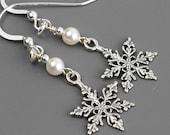 Sterling Silver Snowflake Earrings - White Pearl Drop Earrings - Swarovski Pearl Earrings - Winter Jewelry