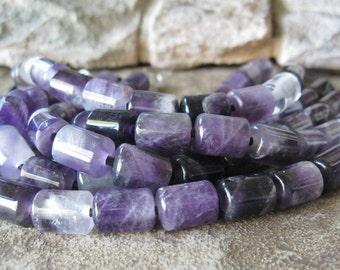 Big Hole Amethyst Barrel Bead 2.5  Large Hole 10 x 14 mm Purple Stone For Leather 10 Beads