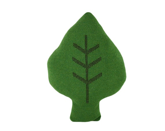Leafy leaf - soft knitted cushion, green