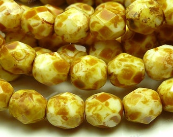 6mm Opaque White Picasso Czech Glass Beads - 25pc Strand - Round, Faceted, Fire Polished - BD40