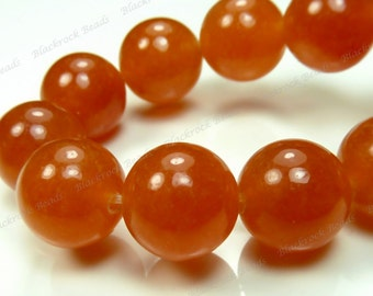10mm  Burnt Orange Jade Round Gemstone Beads - 15.5 Inch Strand - BG18