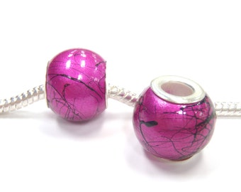 3 Beads - Paint Splatter Hot Pink Acrylic Silver European Bead Charm E1165