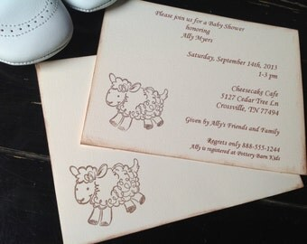 Lamb baby shower invitations-Lamb invitations for new baby or baby's first birthday-gender neutral invitations