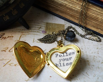 inspirational necklace heart Locket pendant with quote follow your bliss necklace for women with inspiring message locket pendant