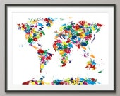 Abstract Painting Map of the World Map, Art Print (225)
